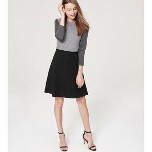 Loft 3/4 sleeve colorblock fit flare dress